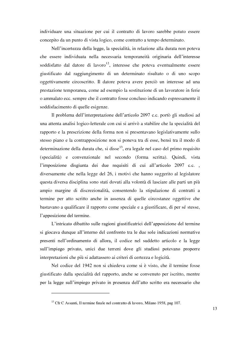 Anteprima della tesi: Le ragioni giustificatrici del contratto a termine, Pagina 10