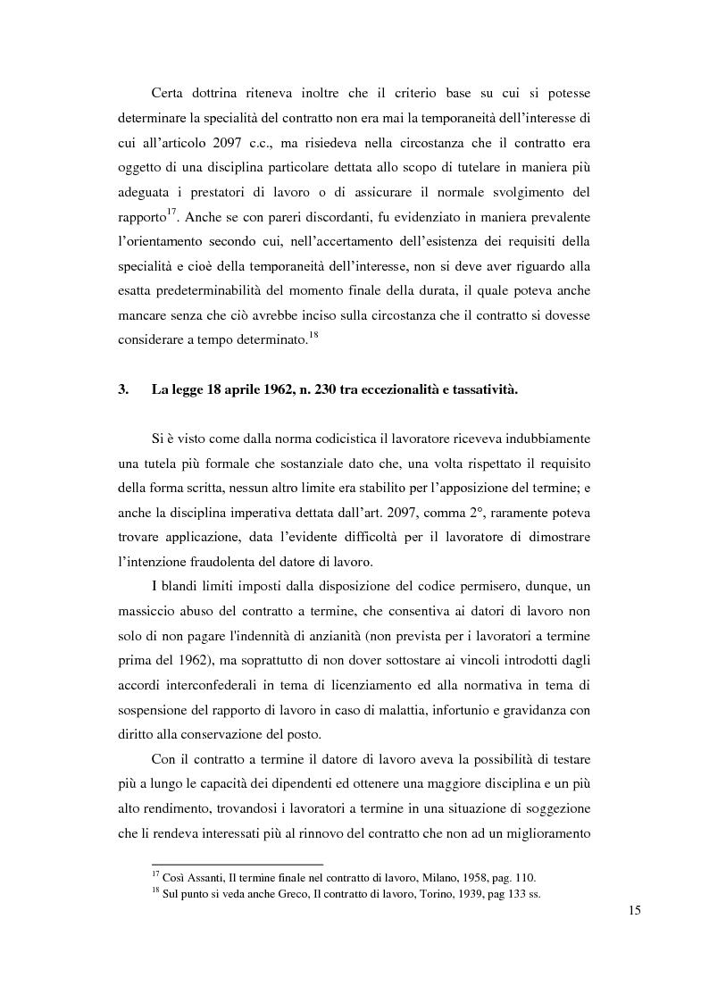 Anteprima della tesi: Le ragioni giustificatrici del contratto a termine, Pagina 12