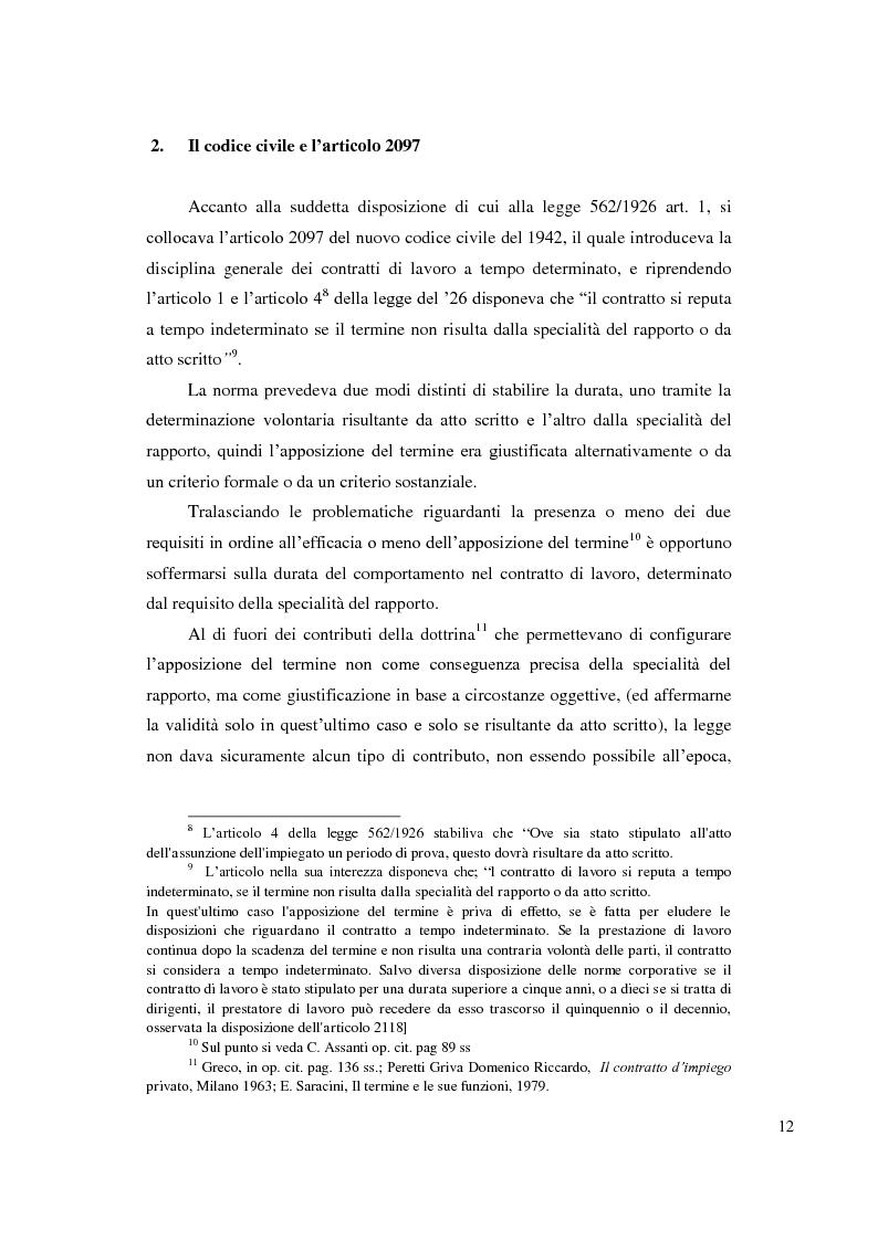 Anteprima della tesi: Le ragioni giustificatrici del contratto a termine, Pagina 9
