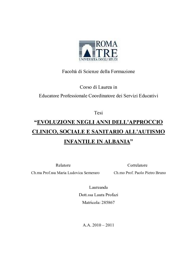 Facolt di scienze della formazione corso di laurea in for Tesi autismo e gioco