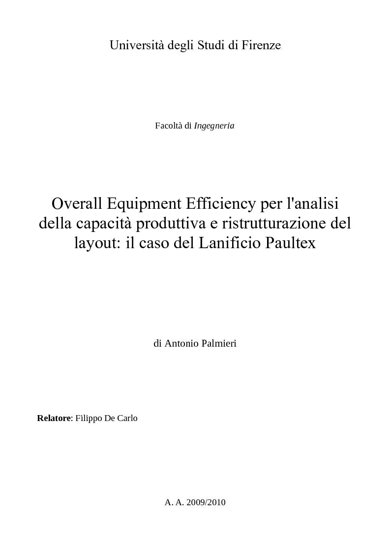 Anteprima della tesi: Overall Equipment Efficiency per l'analisi della capacità produttiva e ristrutturazione del layout: il caso del Lanificio Paultex, Pagina 1