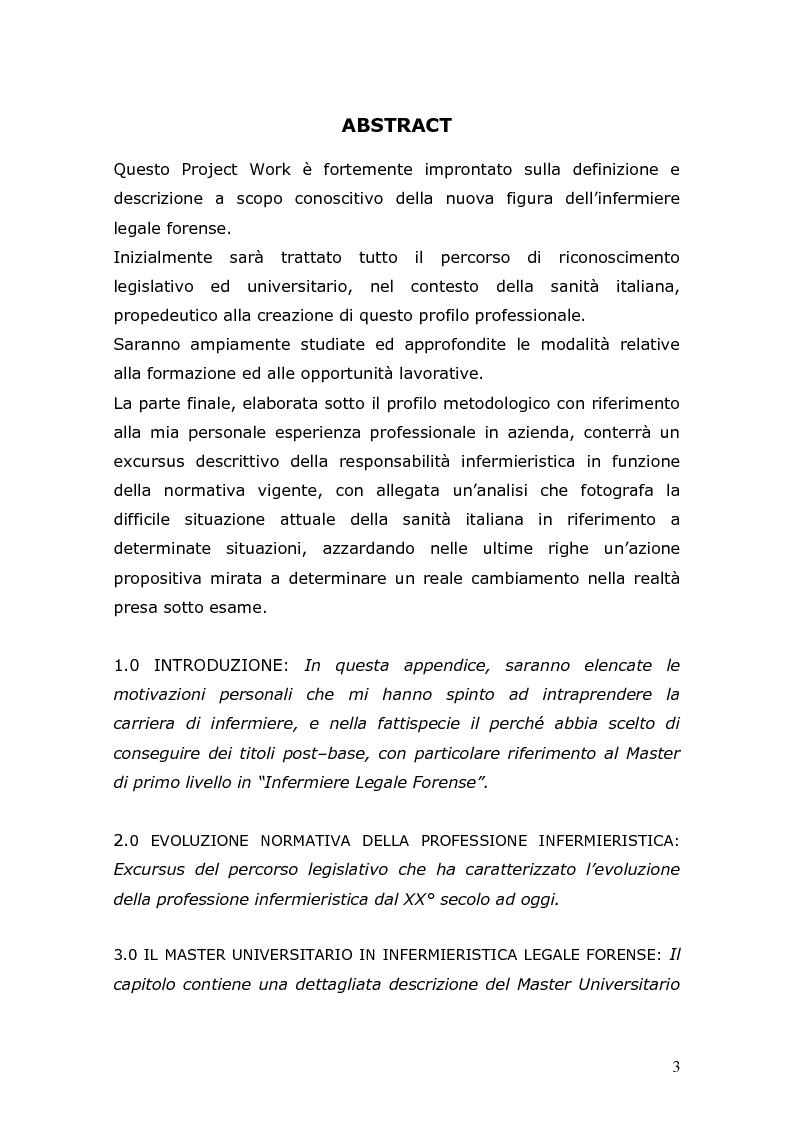 Formazione e funzioni dell'infermiere legale forense: consulenza tecnica, perizia, assistenza legale - Tesi di Laurea