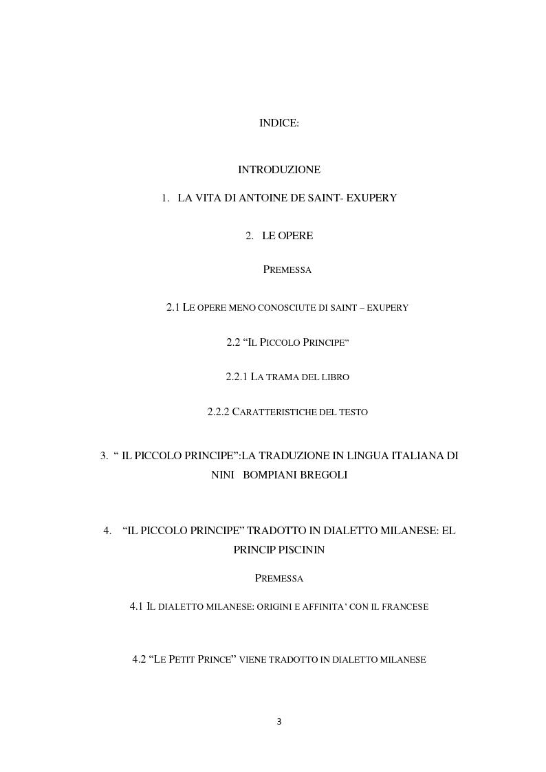 Indice della tesi: Il piccolo principe tra lingue europee e dialetto, Pagina 1