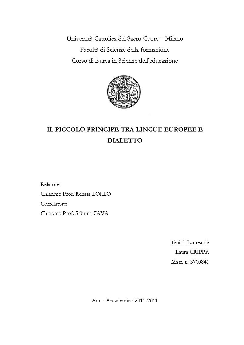 Anteprima della tesi: Il piccolo principe tra lingue europee e dialetto, Pagina 1
