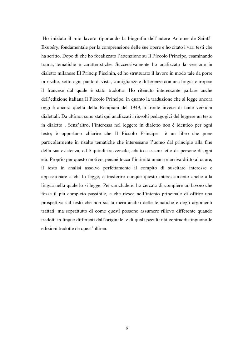 Anteprima della tesi: Il piccolo principe tra lingue europee e dialetto, Pagina 3