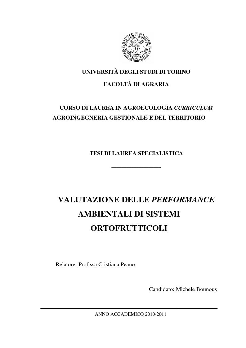 Anteprima della tesi: Valutazione delle performance ambientali di sistemi ortofrutticoli, Pagina 1