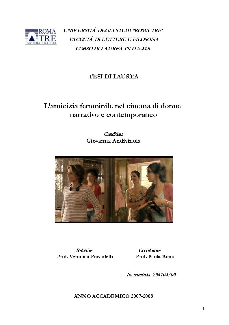 Anteprima della tesi: L'amicizia femminile nel cinema di donne narrativo e contemporaneo, Pagina 1