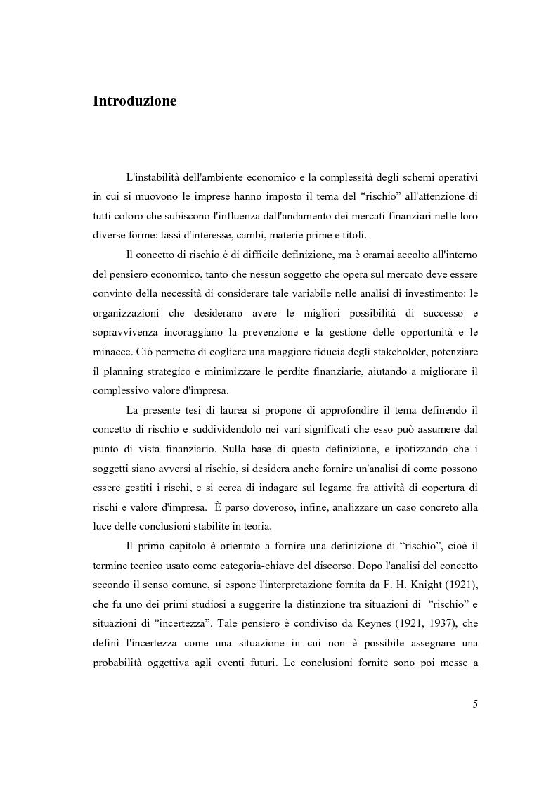 Modelli di gestione del rischio finanziario - Analisi di un caso concreto - Tesi di Laurea