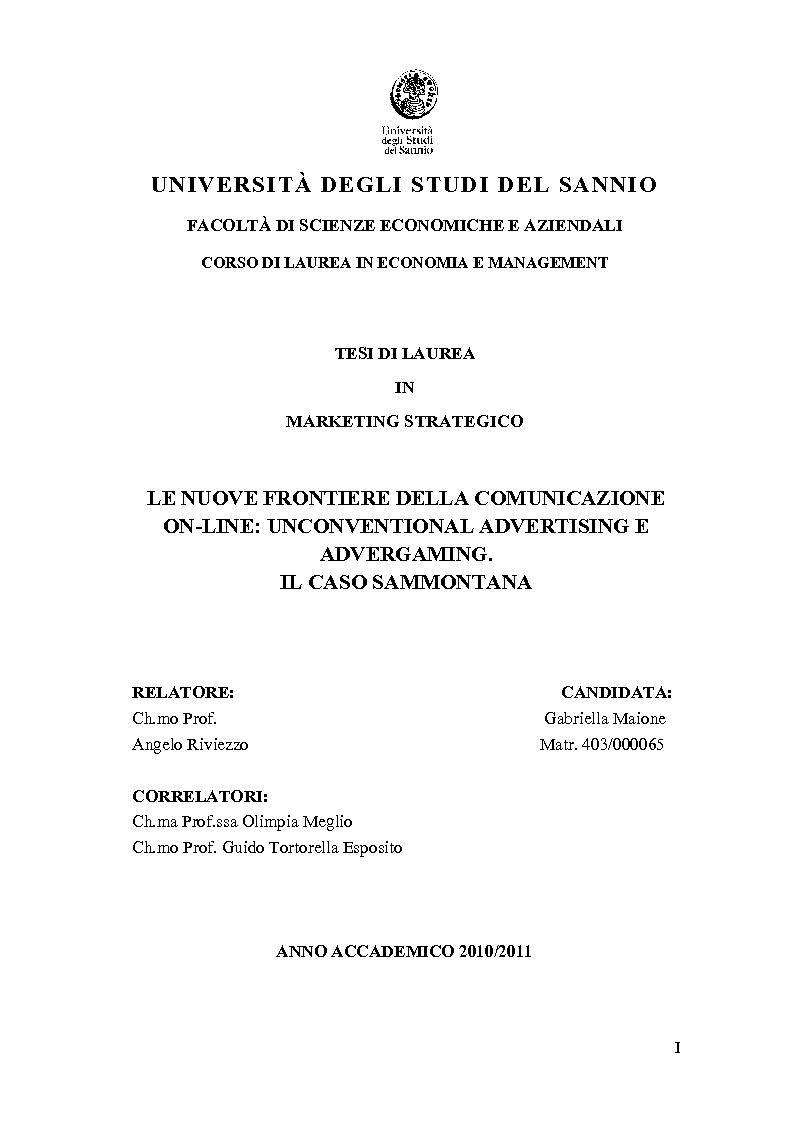 Anteprima della tesi: Le nuove frontiere della comunicazione on-line: unconventional advertising e advergaming. Il caso Sammontana, Pagina 1