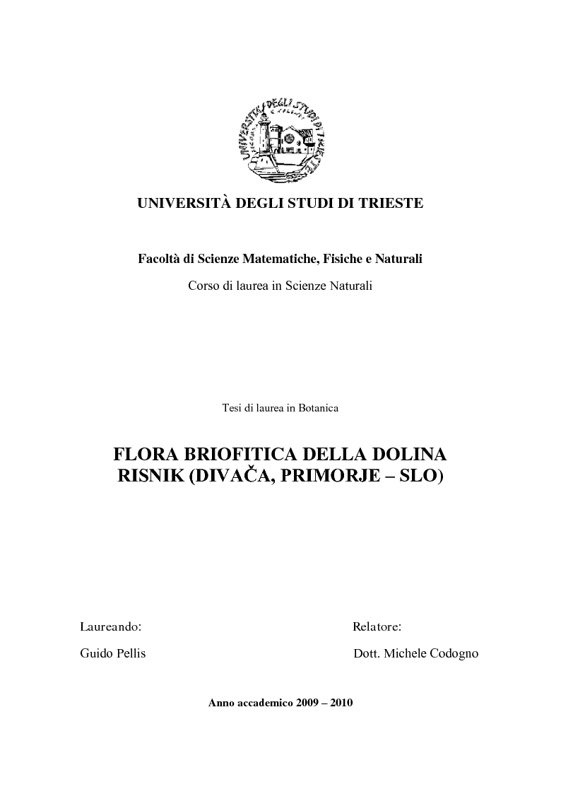 Anteprima della tesi: Flora briofitica della dolina Risnik (Divaca, Primorje - SLO), Pagina 1