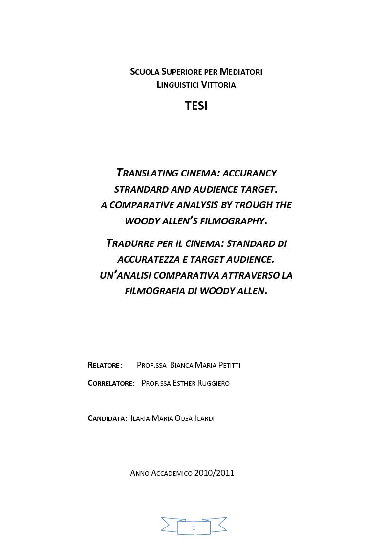 Anteprima della tesi: Tradurre per il cinema: standard accuratezza e target audience. Un'analisi comparativa attraverso la filmografia di Woody Allen., Pagina 1
