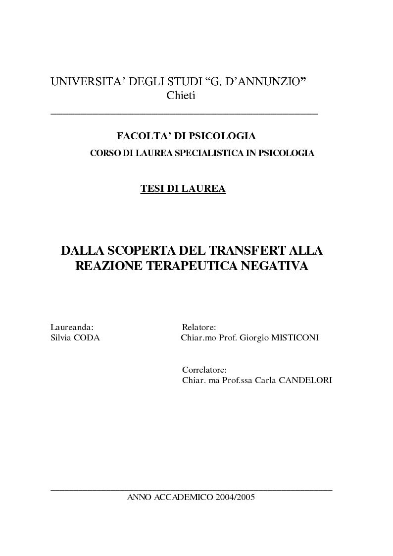 Anteprima della tesi: Dalla scoperta del Transfert alla relazione terapeutica negativa, Pagina 1