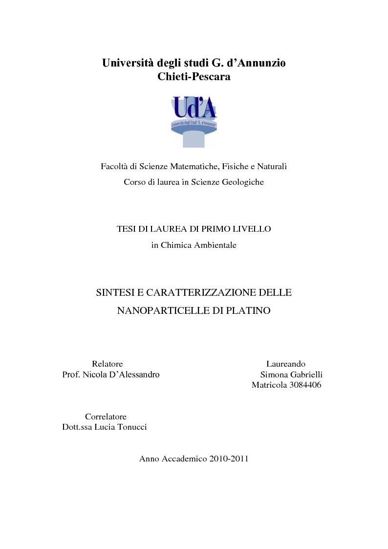 Anteprima della tesi: Sintesi e caratterizzazione delle nanoparticelle di platino, Pagina 1