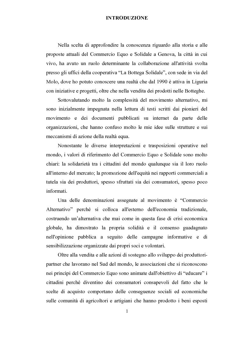Il commercio equo e solidale per la sensibilizzazione e costruzione di una reale alternativa al mercato - Tesi di Laurea