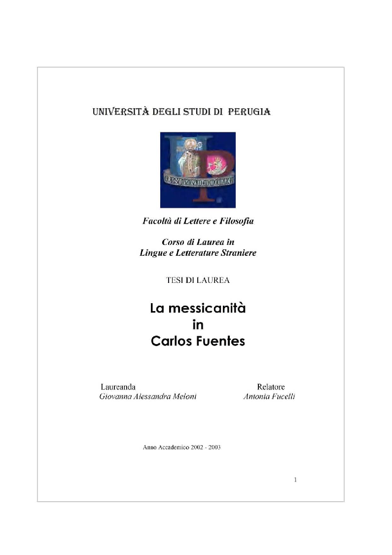 Anteprima della tesi: La messicanità in Carlos Fuentes, Pagina 1