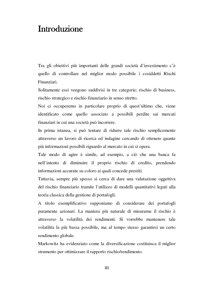 Il Valore a Rischio: metodi basati sull'uso di serie storiche eteroschedastiche. Un'applicazione al mercato italiano - T...