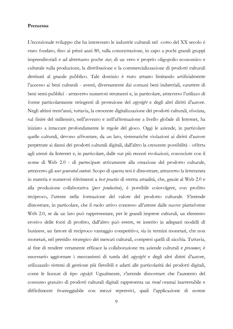 Industrie culturali e Web 2.0 - Strumenti, mercati e business model dei produttori di cultura in rete. - Tesi di Laurea