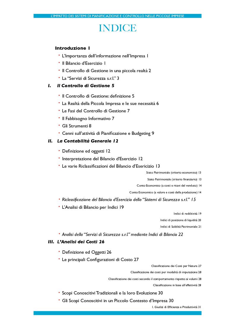 Indice della tesi: L'impatto dei Sistemi di Pianificazione e Controllo nelle PMI, Pagina 1