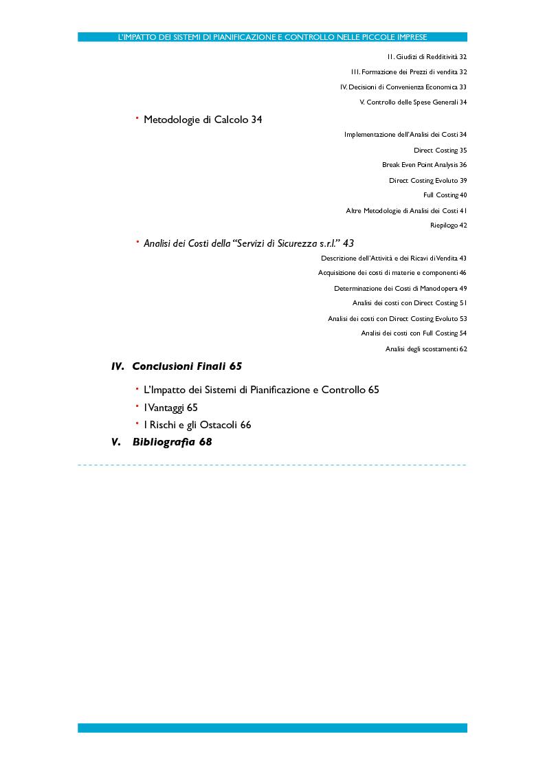 Indice della tesi: L'impatto dei Sistemi di Pianificazione e Controllo nelle PMI, Pagina 2