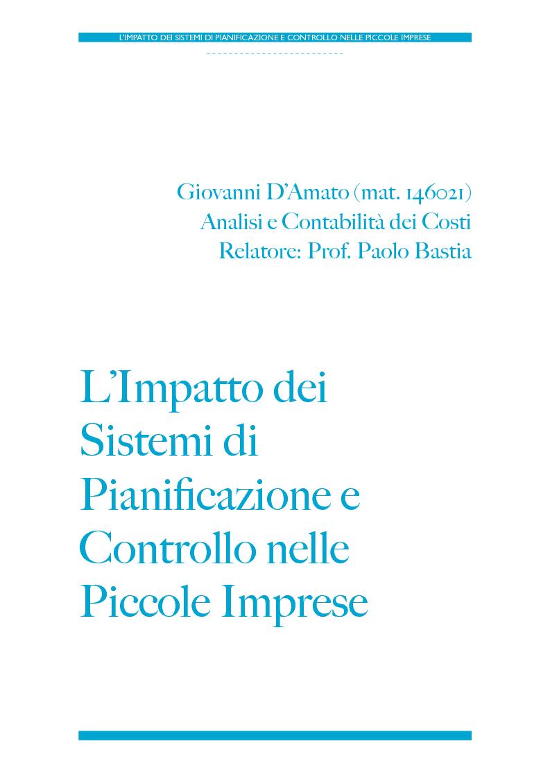 Anteprima della tesi: L'impatto dei Sistemi di Pianificazione e Controllo nelle PMI, Pagina 1