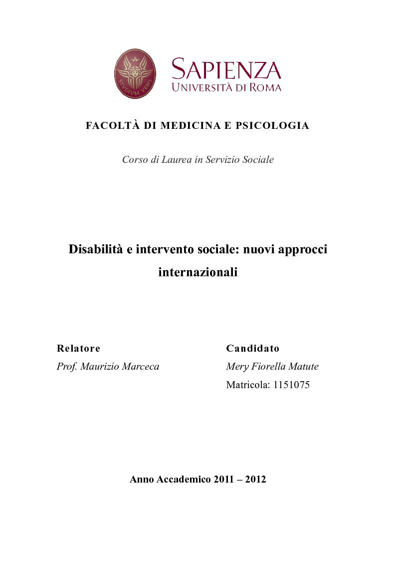 Anteprima della tesi: Disabilità e intervento sociale: nuovi approcci internazionali, Pagina 1