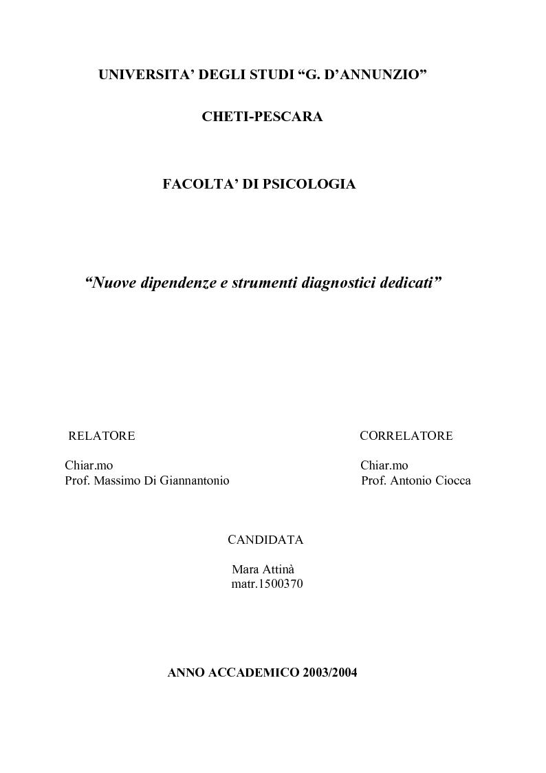 Anteprima della tesi: Nuove dipendenze e strumenti diagnostici dedicati, Pagina 1
