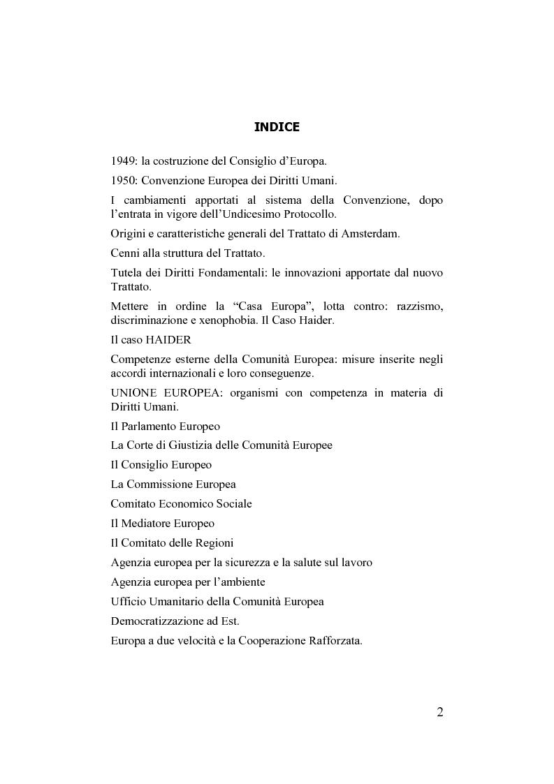 Indice della tesi: Unione europea e diritti dell'uomo, Pagina 1
