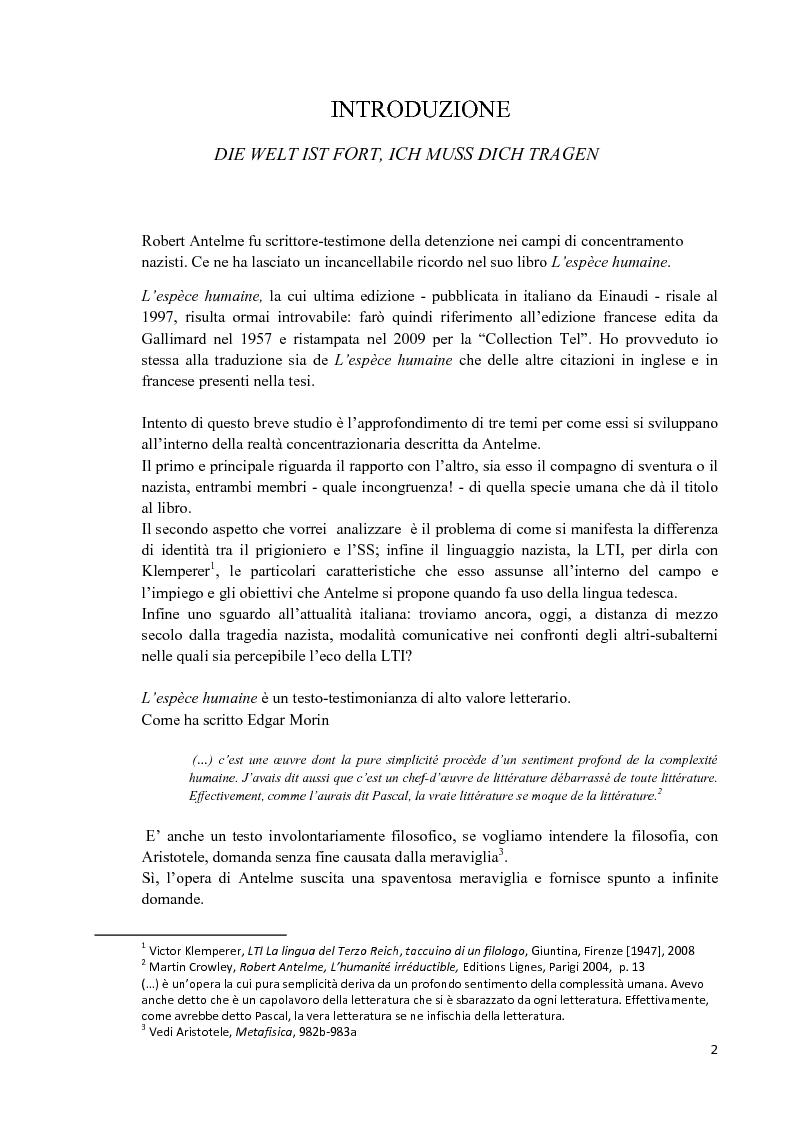 Altro, identità e linguaggio: riflessioni su l'Espèce Humaine di Robert Antelme - Tesi di Laurea