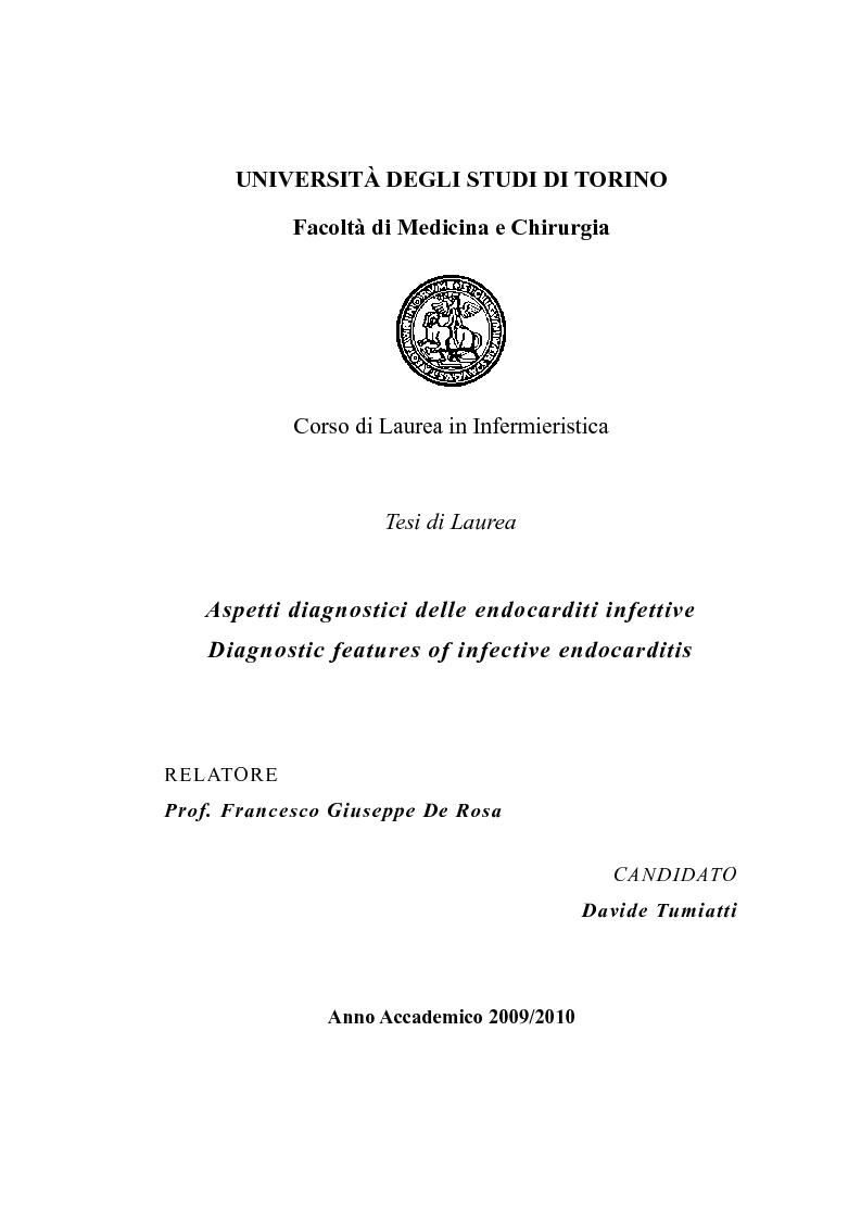 Anteprima della tesi: Aspetti diagnostici delle endocarditi infettive. , Pagina 1
