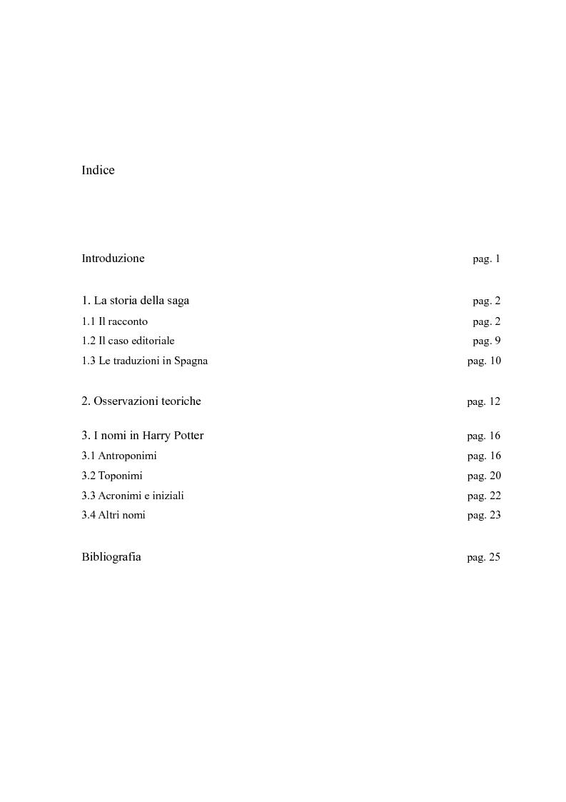 Indice della tesi: Considerazioni sulla traduzione spagnola della saga di Harry Potter, Pagina 1