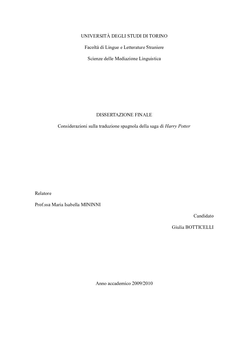 Anteprima della tesi: Considerazioni sulla traduzione spagnola della saga di Harry Potter, Pagina 1