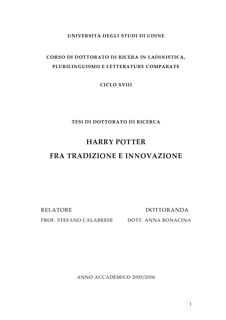 Anteprima della tesi: Harry Potter fra tradizione e innovazione, Pagina 1