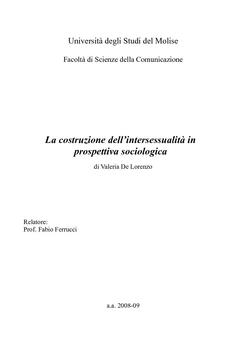 Anteprima della tesi: La costruzione dell'intersessualità in prospettiva sociologica, Pagina 1