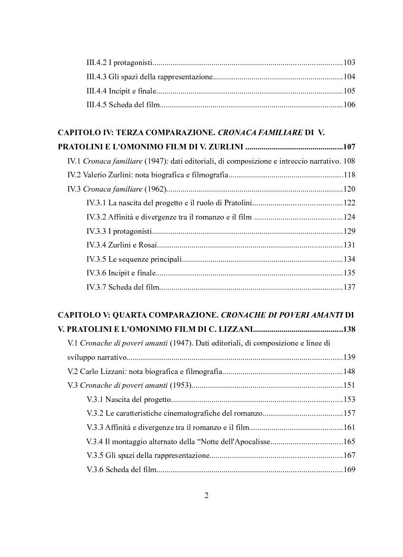 Indice della tesi: Vasco Pratolini e il cinema. Quattro casi di adattamento, Pagina 2