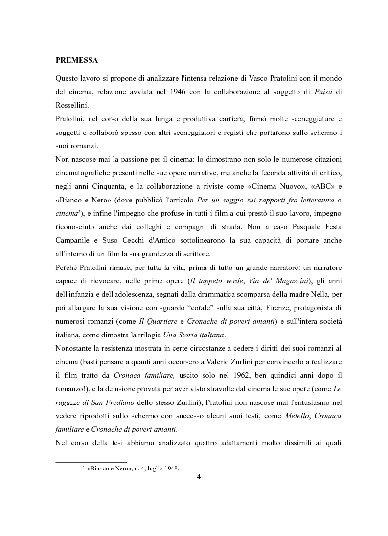 Anteprima della tesi: Vasco Pratolini e il cinema. Quattro casi di adattamento, Pagina 2