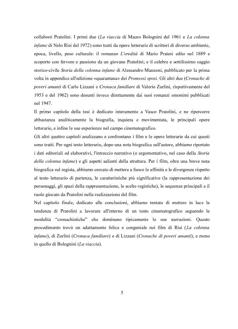 Anteprima della tesi: Vasco Pratolini e il cinema. Quattro casi di adattamento, Pagina 3
