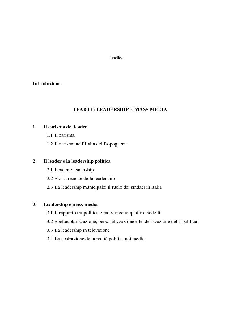 Indice della tesi: La costruzione mediale della leadership politica. Il caso di Francesco Rutelli da sindaco di Roma a candidato premier dell'Ulivo, Pagina 1