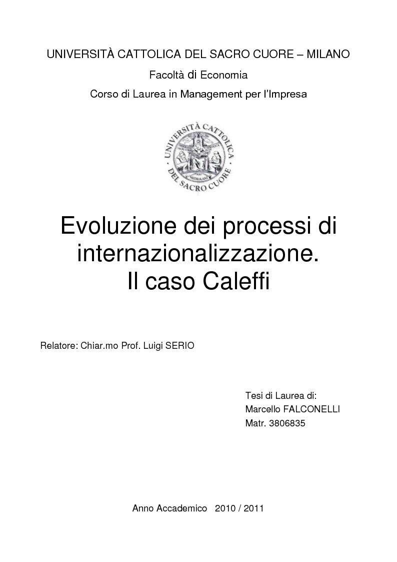 Anteprima della tesi: Evoluzione dei processi di internazionalizzazione. Il caso Caleffi, Pagina 1