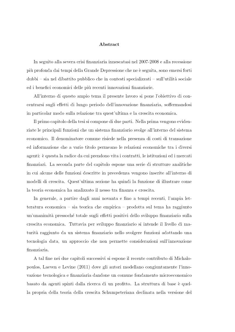 Innovazione finanziaria e crescita economica: un approccio teorico - Tesi di Laurea