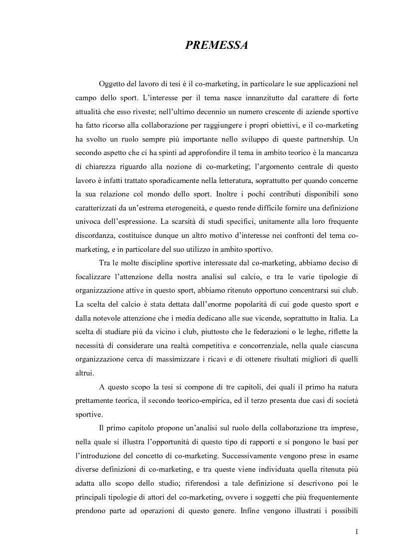 Lo sviluppo del co-marketing sportivo: attori coinvolti con riferimento a casi concreti - Tesi di Laurea