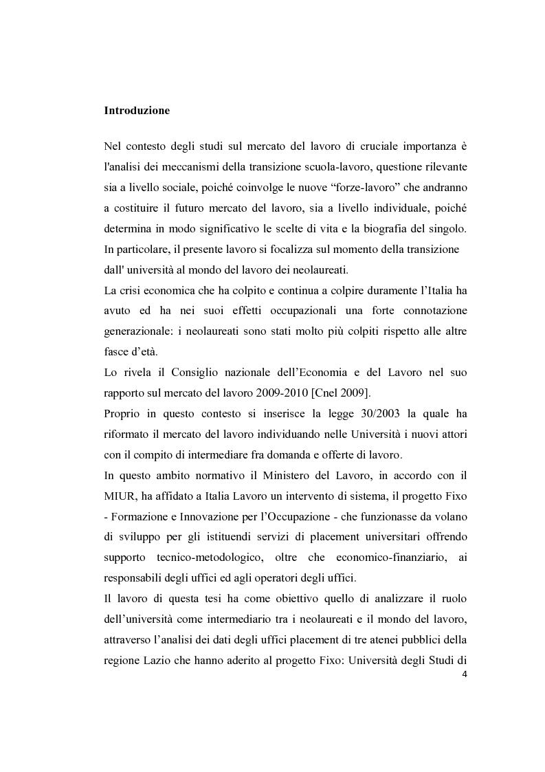 Anteprima della tesi: Le attività di placement delle università: il progetto Fixo, Pagina 2
