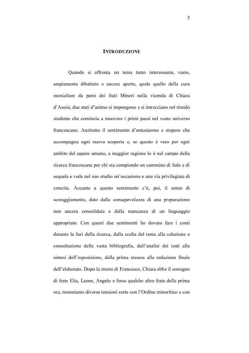 Anteprima della tesi: I frati minori e la cura monialium nella vicenda di Chiara d'Assisi e la comunità di san Damiano, Pagina 2
