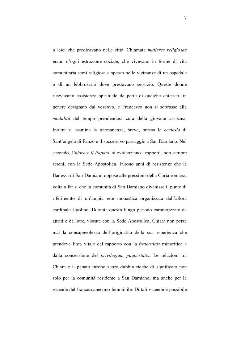 Anteprima della tesi: I frati minori e la cura monialium nella vicenda di Chiara d'Assisi e la comunità di san Damiano, Pagina 4