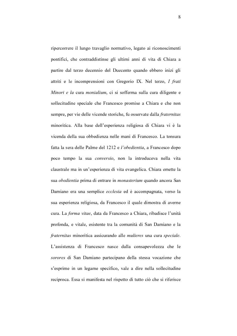 Anteprima della tesi: I frati minori e la cura monialium nella vicenda di Chiara d'Assisi e la comunità di san Damiano, Pagina 5
