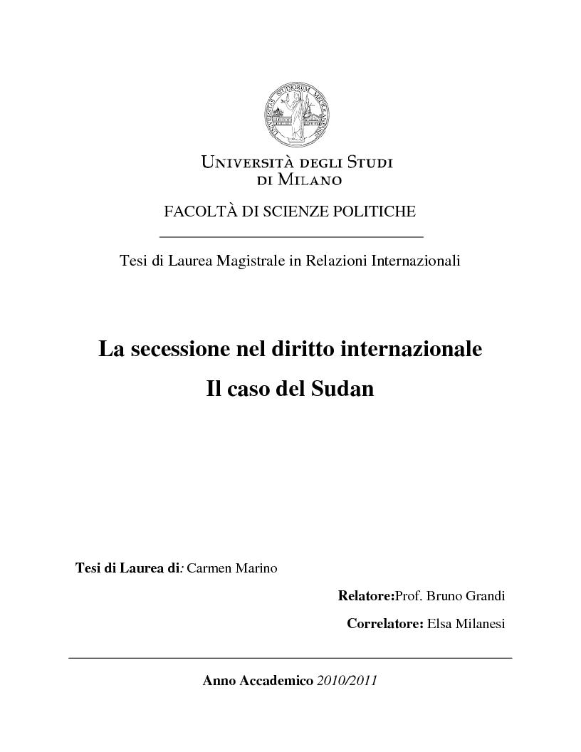 Anteprima della tesi: La secessione nel diritto internazionale. Il caso del Sudan, Pagina 1