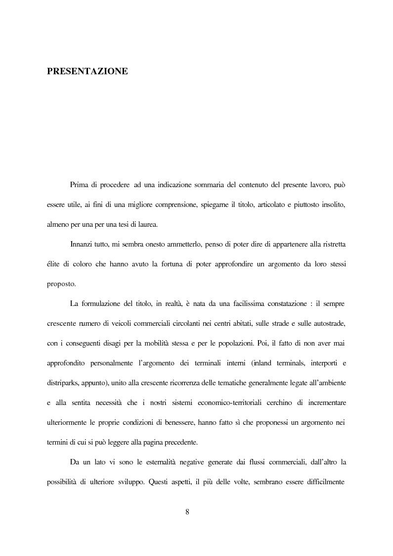 Anteprima della tesi: Inland terminals, interporti, distriparks come fattori di organico sviluppo decentrato del territorio e dell'economia dei trasporti, Pagina 1