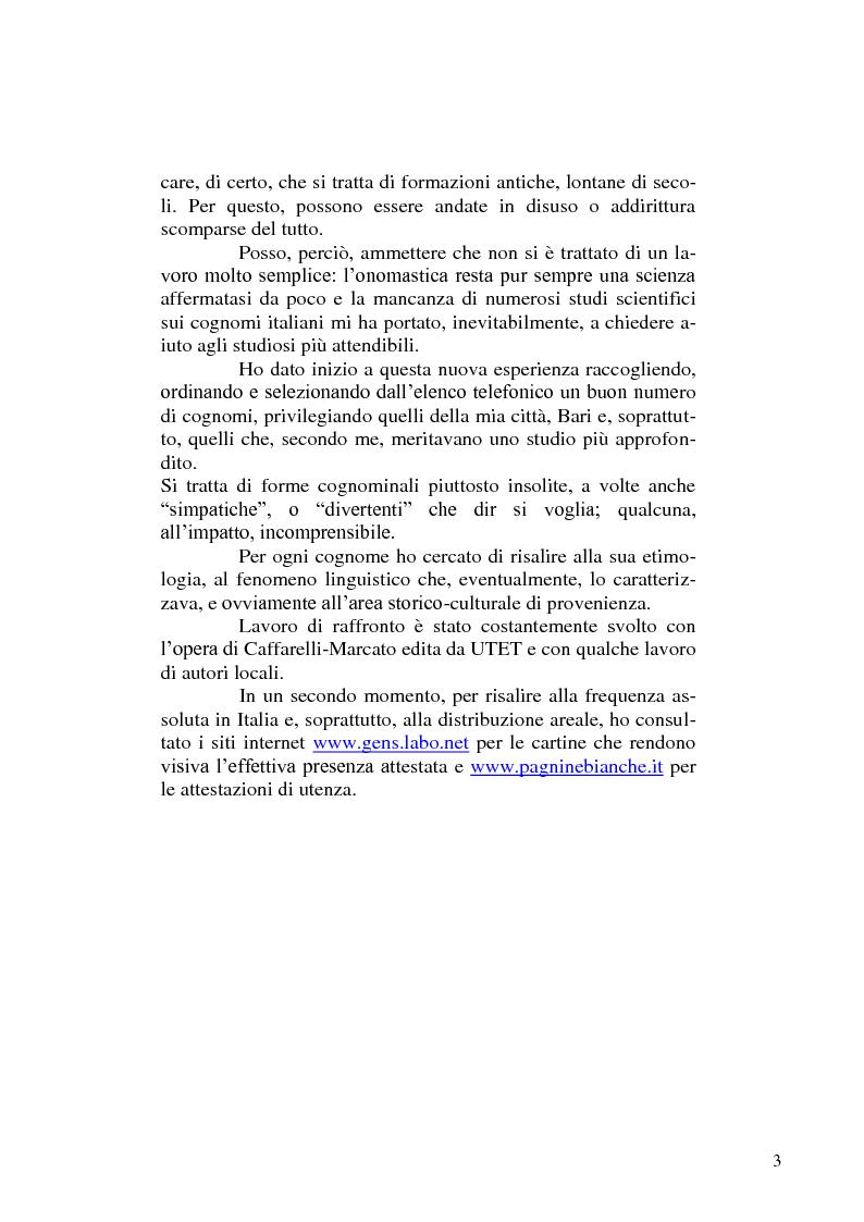 Anteprima della tesi: Dimmi come ti chiami e ti dirò chi sei - di alcuni cognomi pugliesi, Pagina 3