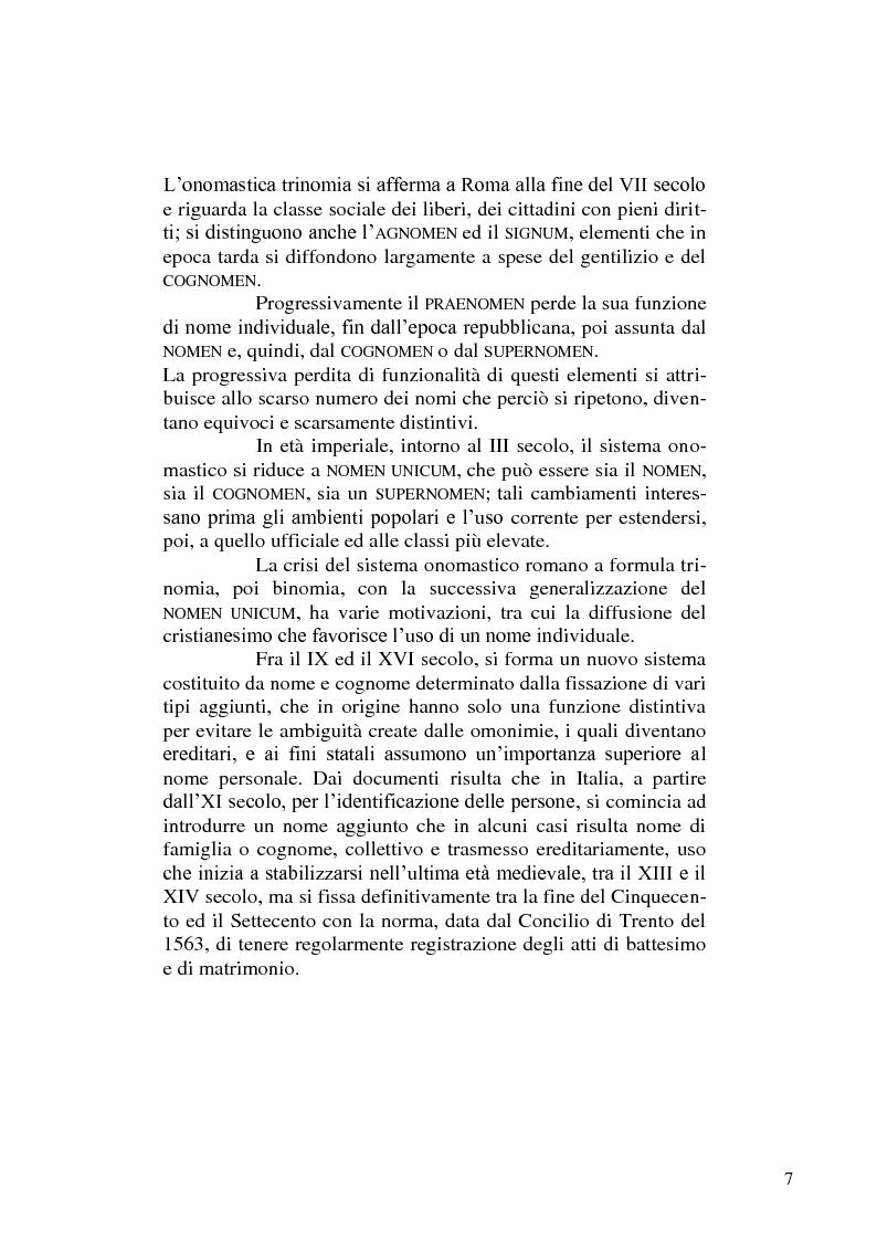 Anteprima della tesi: Dimmi come ti chiami e ti dirò chi sei - di alcuni cognomi pugliesi, Pagina 7
