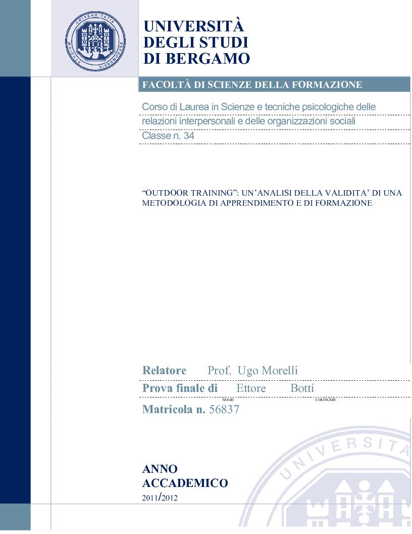 Anteprima della tesi: Outdoor Training: un'analisi della validità di una metodologia di apprendimento e di formazione, Pagina 1