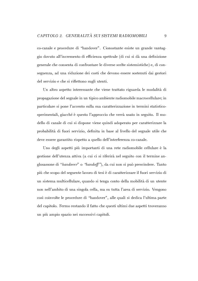 Anteprima della tesi: Caratterizzazione della probabilità di fuori servizio in una rete radiomobile cellulare, Pagina 13